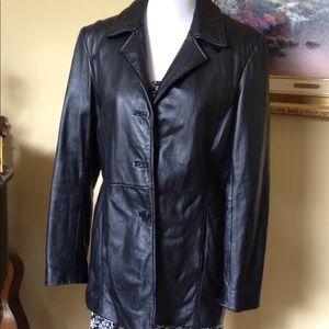 Worthington black genuine leather coat size M